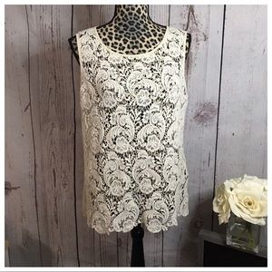Cynthia Rowley Ivory Lace Tank Medium